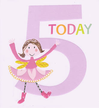 Birthday Age Card 5 Girl Count to Ten
