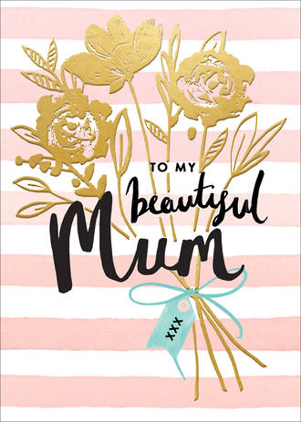 Mum Birthday Card Louise Tiler Embossed Bouquet