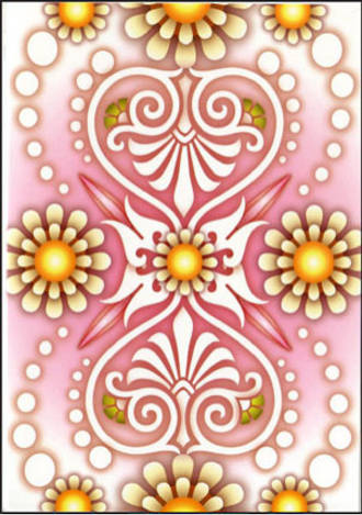 Blank Card: Catalina - Pink White Yellow
