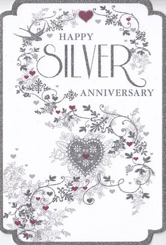Anniversary Card 25th Silver Pizazz Formal Floral