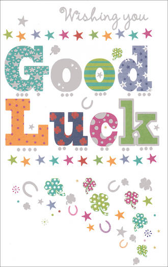Good Luck Card Wish Clovers