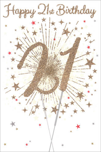 Birthday Age Card 21 Male Sparklers