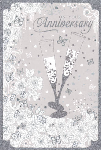 Anniversary Card Your Pizazz Silver Glass