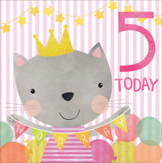 Birthday Age Card 5 Girl Square Cat