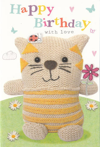 Kids' Birthday Card: Marshmallow Cat