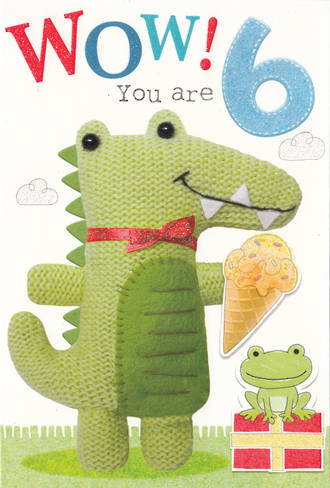 Birthday Age Card 6 Boy Marshmallow Crocodile