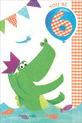 Age Card 6 Boy Birthday Crocodile