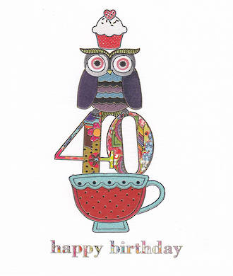 Birthday Age Card 40 General Artfolio Owl