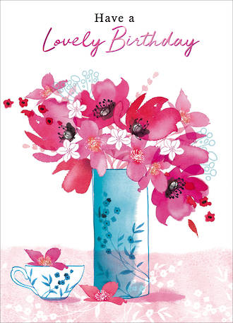 Birthday Card Female Hi There Pink Flower