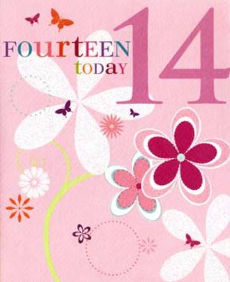 Age Card 14 Female Candy Burst Flowers
