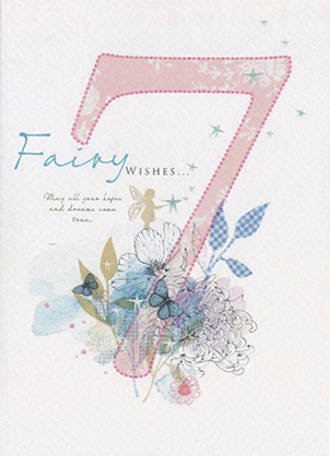 Birthday Age Card 7 Girl Peony Rose Fairy Wishes