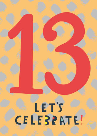 Birthday Age Card 13 Male Bright Sparks