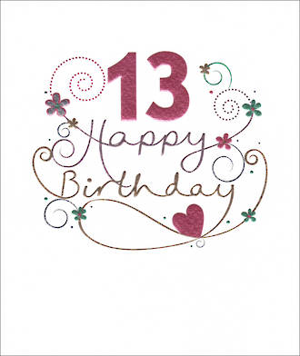 Birthday Age Card 13 Female Mimosa Pink