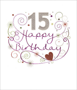 Birthday Age Card 15 Female Mimosa Purple