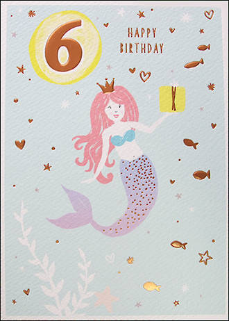Age Card 6 Girl Birthday Pancake Mermaid