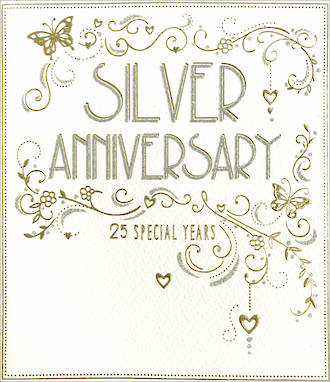 Anniversary Card 25th Silver Park Lane Years