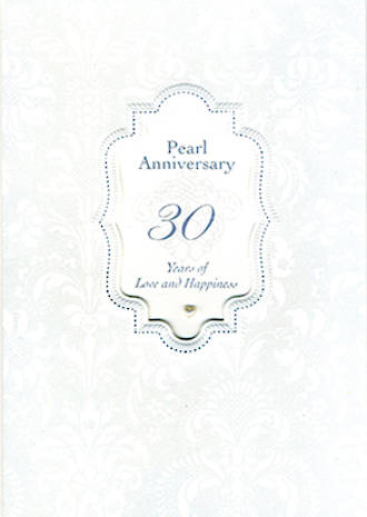 Anniversary Card 30th Pearl Gem