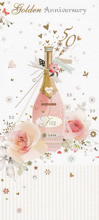 Anniversary Card 50th Gold Florentine Pink Fizz