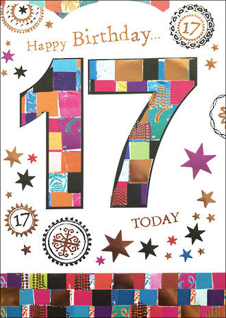 Birthday Age Card 17 Female Mosaic