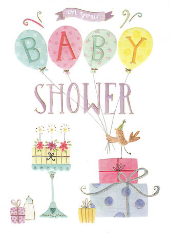 Baby Shower Card Periwinkle