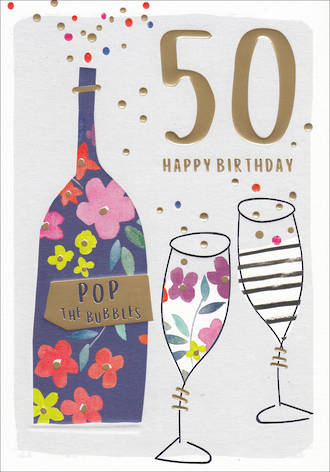 Birthday Age Card 50 Female Kirra Bubbles