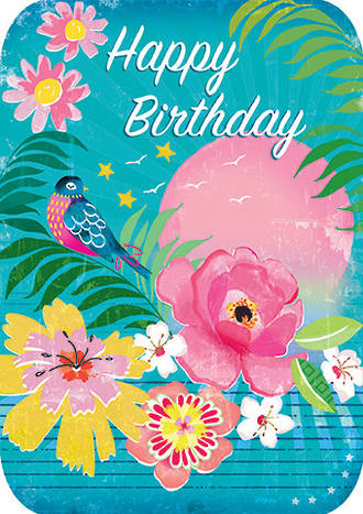 Retro Flair Birthday Bird Tropics