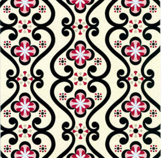 Blank Card: Pattern Pages - Black & Red Design