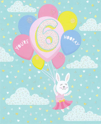 Age Card 6 Girl Birthday Balloons In Clouds
