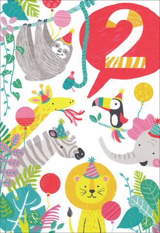 Birthday Age Card 2 Boy Wild Animals