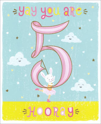 Birthday Age Card 5 Girl Pink Ribbon