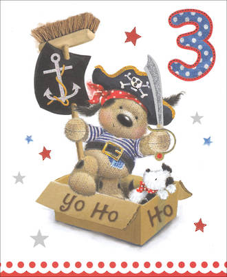 Birthday Age Card 3 Boy Pirate Dog