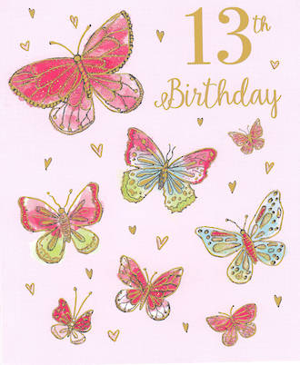 Birthday Age Card 13 Female Butterflies