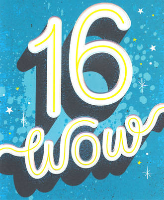 Birthday Age Card 16 Male Wow