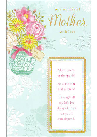 Mum Birthday Card Mother Willow Tall Embossed Floral
