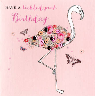 Buttoned Up Birthday Pink Flamingo