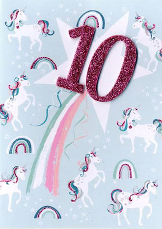 Birthday Age Card 10 Female Inspired Unicorns