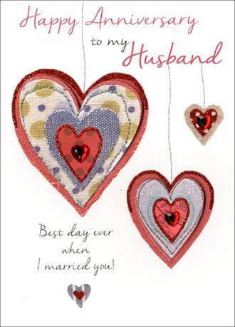 Anniversary Card Husband Just To Say Hearts