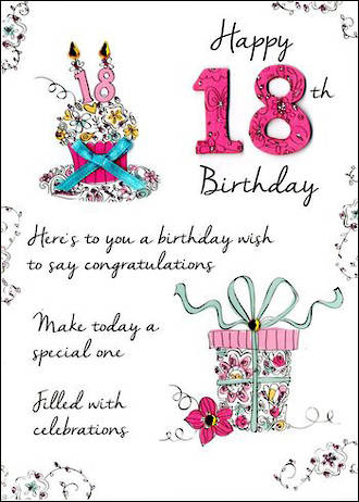 Birthday Age Card 18 Female Just To Say