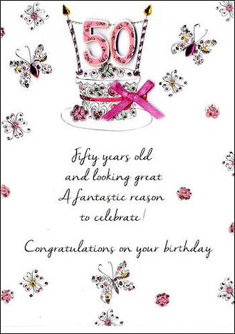 Birthday Age Card 50 Female Just To Say