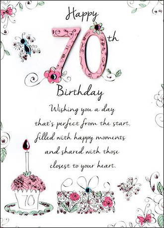 Birthday Age Card 70 Female Just To Say