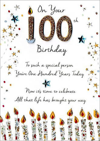 Birthday Age Card 100 Male Just To Say