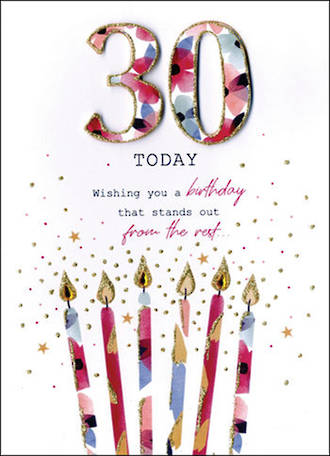 Birthday Age Card 30 Female Just To Say Candles