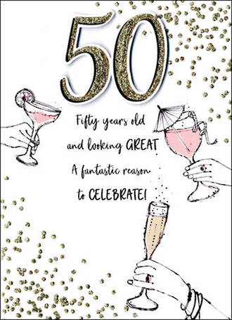 Birthday Age Card 50 Female Just To Say Drinks