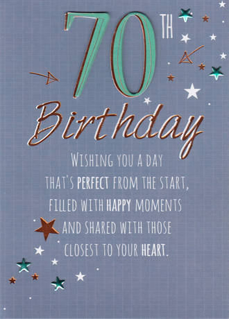 Birthday Age Card 70 Male Just To Say Blue
