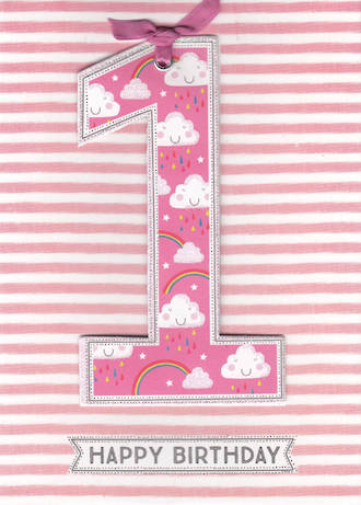 First Birthday Age Card 1 Girl Lollipop