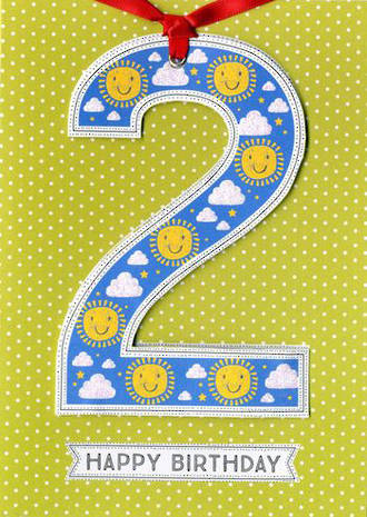 Birthday Age Card 2 Boy Lollipop