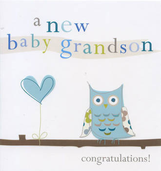 Baby Card Grandchild Serendipity Grandson Owl