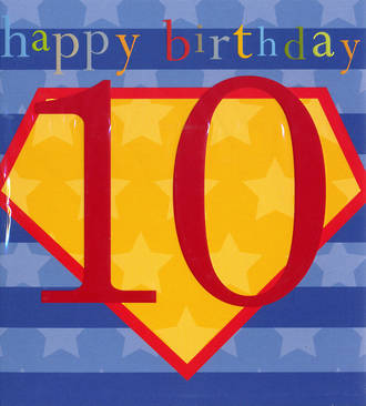 Birthday Age Card 10 Boy Kids Shield