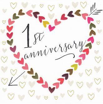 Anniversary Card 1st Rosetta Arrow Heart
