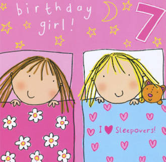 Birthday Age Card 7 Girl Twizler Sleepover